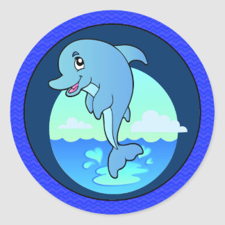 Leaping Happy Dolphin Classic Round Sticker