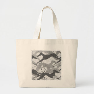 Leaping Hounds Black - Grey Large Tote Bag