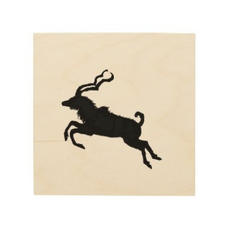 Leaping kudu silhouette wood wall art