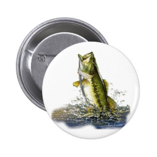 Leaping largemouth bass 6 cm round badge
