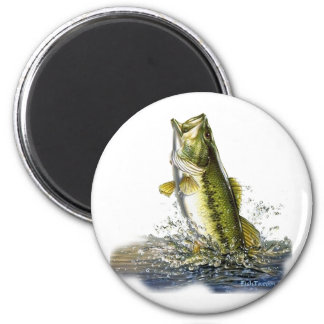 Leaping largemouth bass 6 cm round magnet