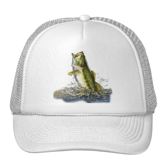 Leaping largemouth bass cap
