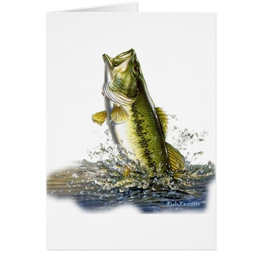 Leaping largemouth bass cards