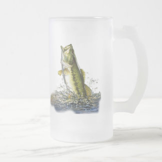 Leaping largemouth bass frosted glass beer mug