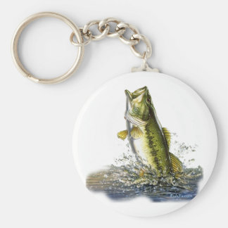 Leaping largemouth bass key chains