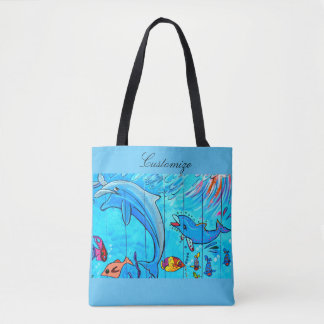 leaping laughing dolphins design blue tote bag