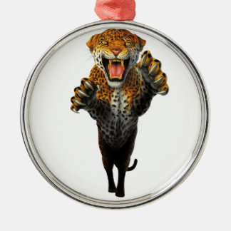 Leaping Leopard - a bit of an animal Silver-Colored Round Decoration