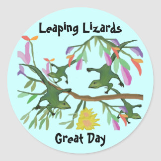 Leaping Lizards Great Day Classic Round Sticker