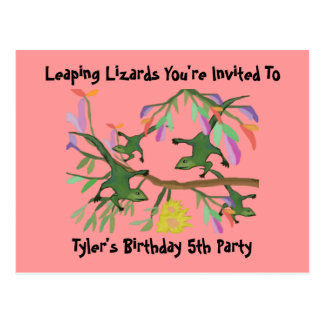 Leaping Lizards Kids Birthday Invitation Postcards