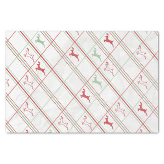Leaping Reindeer Plaid Tissue Paper