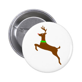 Leaping Rudolph The Red Nose Reindeer 6 Cm Round Badge