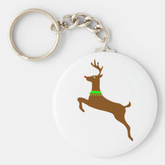 Leaping Rudolph The Red Nose Reindeer Basic Round Button Key Ring