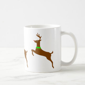 Leaping Rudolph The Red Nose Reindeer Basic White Mug