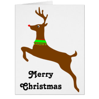Leaping Rudolph The Red Nose Reindeer Big Greeting Card