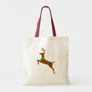 Leaping Rudolph The Red Nose Reindeer Budget Tote Bag