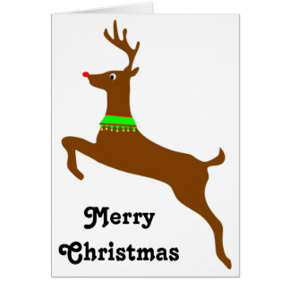 Leaping Rudolph The Red Nose Reindeer Greeting Card