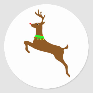 Leaping Rudolph The Red Nose Reindeer Round Sticker