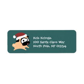 Leaping Santa Pug Holiday Return Address Labels