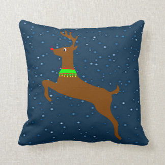 Leaping The Red Nose Reindeer Pillows
