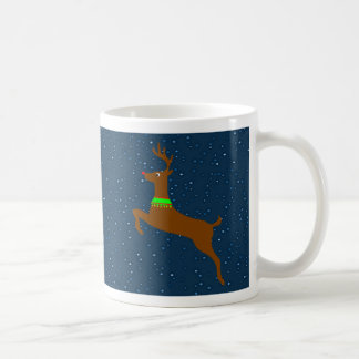 Leaping The Red Nose Reindeer Coffee Mugs