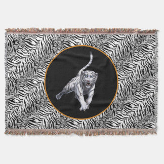Leaping White Tiger Blanket