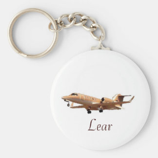 Lear Jet at LAX CLEAN, Lear Basic Round Button Key Ring