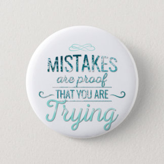 Learn from mistakes motivational typography quote 6 cm round badge