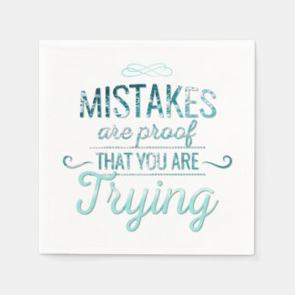Learn from mistakes motivational typography quote disposable serviette