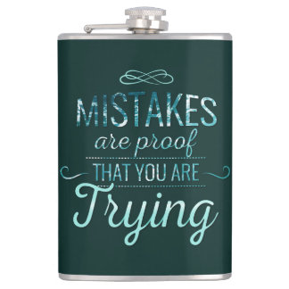 Learn from mistakes motivational typography quote hip flask