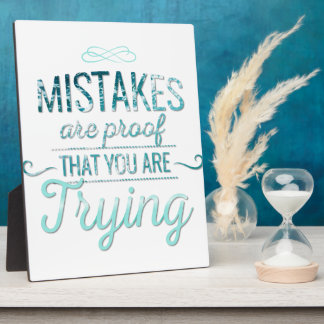 Learn from mistakes motivational typography quote plaque
