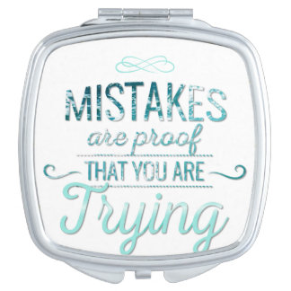 Learn from mistakes motivational typography quote travel mirror