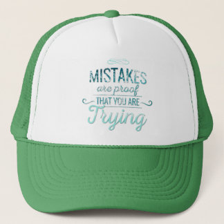 Learn from mistakes motivational typography quote trucker hat