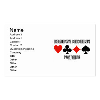 Learn How To Communicate Play Bridge Business Cards
