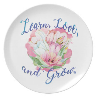 learn laugh grow beautiful flowers, flowers plate