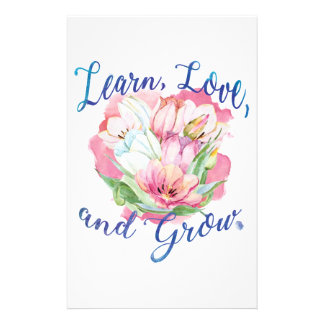 learn laugh grow beautiful flowers, flowers stationery
