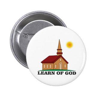 learn of god church 6 cm round badge
