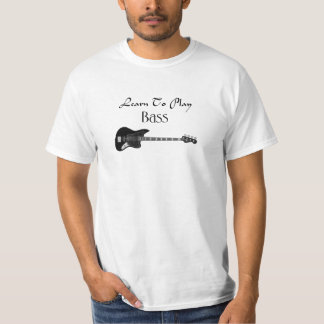 Learn to play bass black color T-Shirt