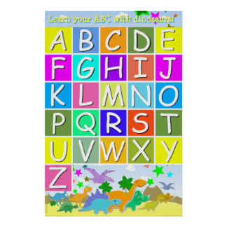 Learn your ABC With Dinosaurs Reading Letters Poster