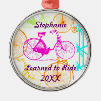 Learned to Ride Bike Keepsake and Year Metal Ornament