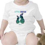 Learning Candy Little Sister Peacock Personalised Rompers