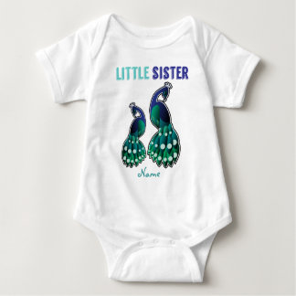 Learning Candy Little Sister Peacock Personalized Baby Bodysuit
