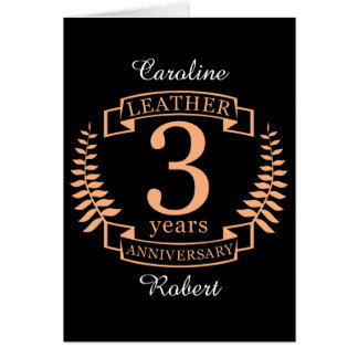 Leather 3 years wedding anniversary card