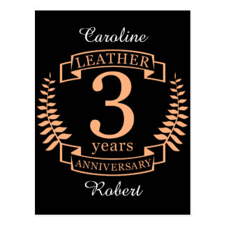 Leather 3 Years Wedding Anniversary Postcard