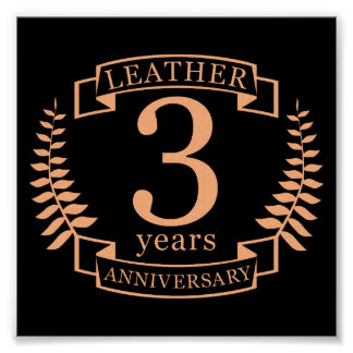 Leather 3 years wedding anniversary poster