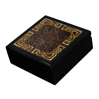 Leather and gold celtic box large square gift box
