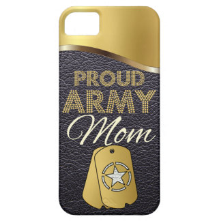 Leather and Gold Proud Army Mom iPhone 5 Cases