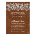 Leather and Lace Look Wedding 13 Cm X 18 Cm Invitation Card