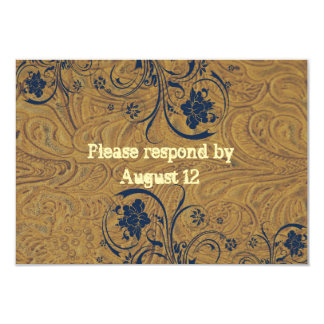 Leather and Lace Wedding RSVP with envelopes Card