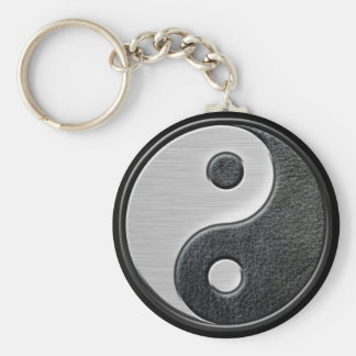 Leather and Steel Effect Yin Yang Graphic Basic Round Button Key Ring