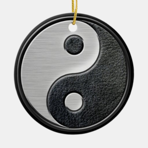 Leather and Steel Effect Yin Yang Graphic Ornaments